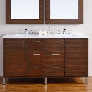 Cordie 60 Double American Walnut Birch Base Bathroom Vanity Set by Orren Ellis