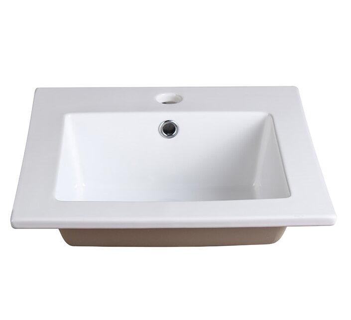 Fresca Allier Ceramic Square Drop In Bathroom Sink With Overflow Reviews Wayfair