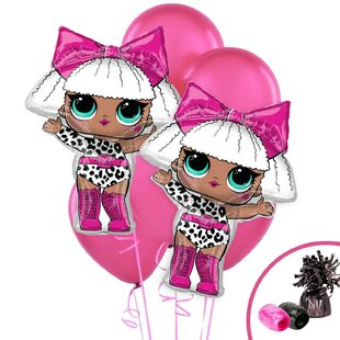 11 Piece LOL Surprise Diva Jumbo Foil Balloon Plastic Disposable Centerpiece Set