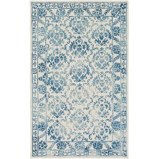Reviews Kiernan Hand Tufted Teal/Off-White Area Rug By Ophelia & Co.