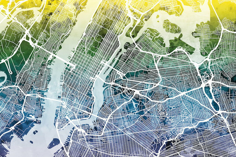 East Urban Home Color Gradient Urban Street Map Series New York City New York Usa I Graphic Art On Wrapped Canvas Wayfair