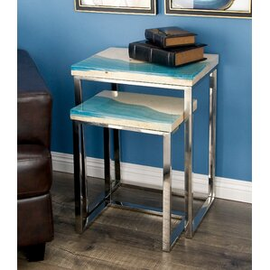 Stainless Steel/Polystone 2 Piece End Table ..