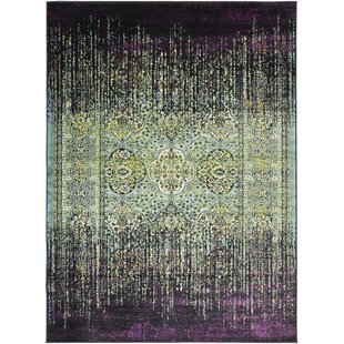 Coupon Ana Overdyed Purple/Green/Black Area Rug By World Menagerie