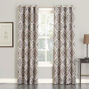 Orlando Global Ikat Room Darkening Grommet Single Curtain Panel