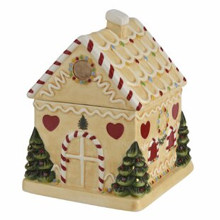 Christmas Tree Gingerbread House Candy Jar