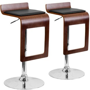 Wrought Studio Merrick Adjustable Height Swivel Bar Stool (Set of 2)