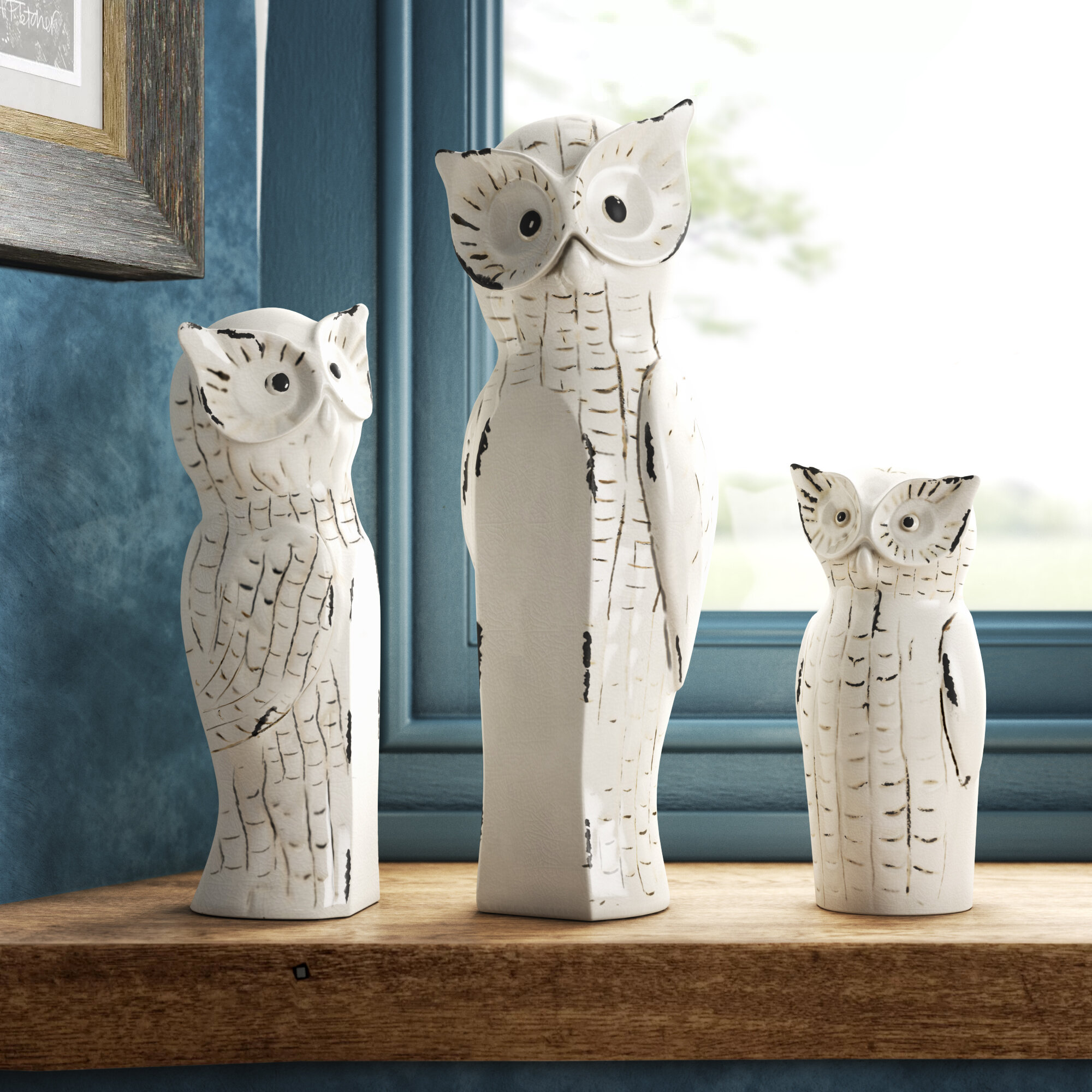 Owl Family 3 Piece Figurine Set Reviews Birch Lane