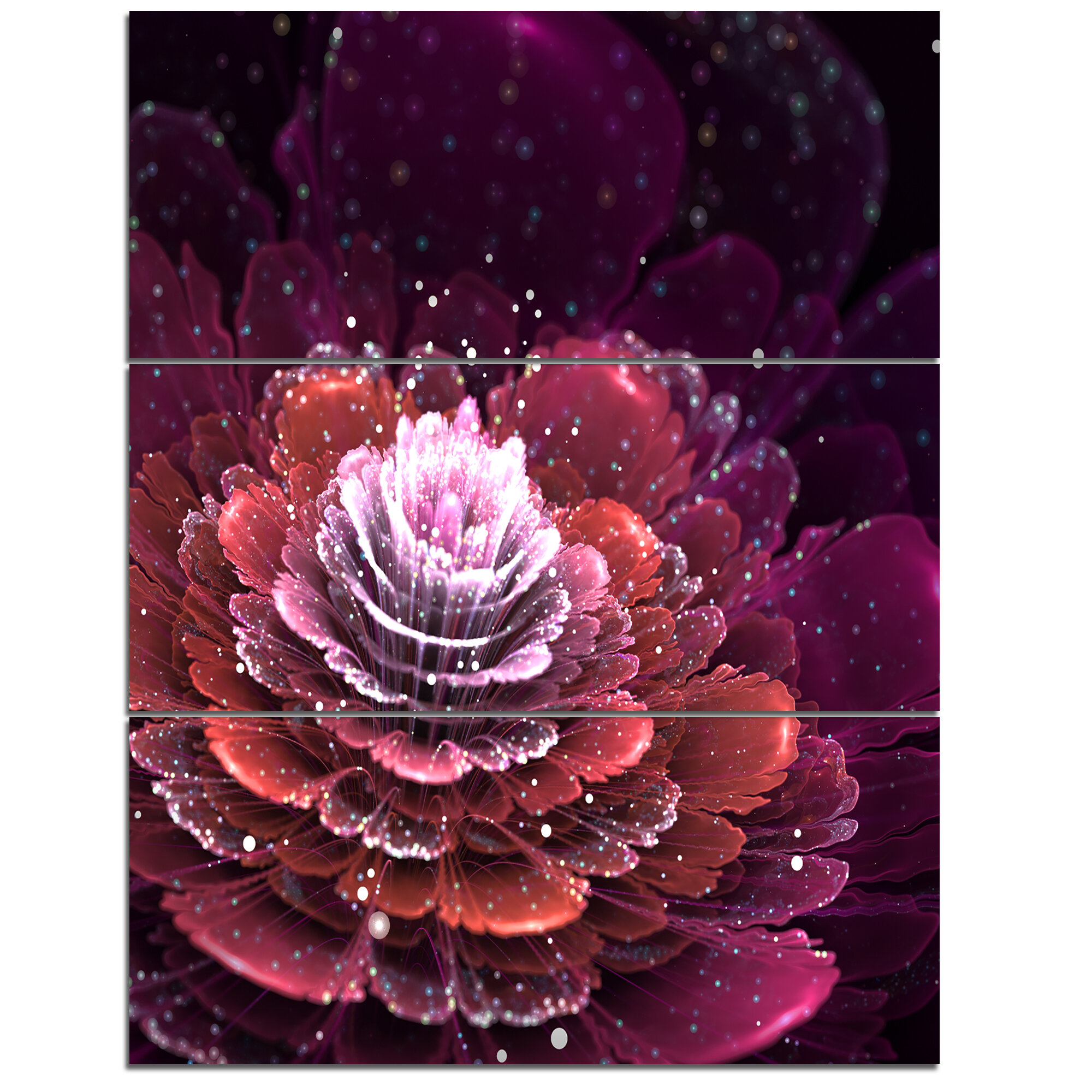Designart Fractal Flower Red And White 3 Piece Graphic Art On Wrapped Canvas Set Wayfair