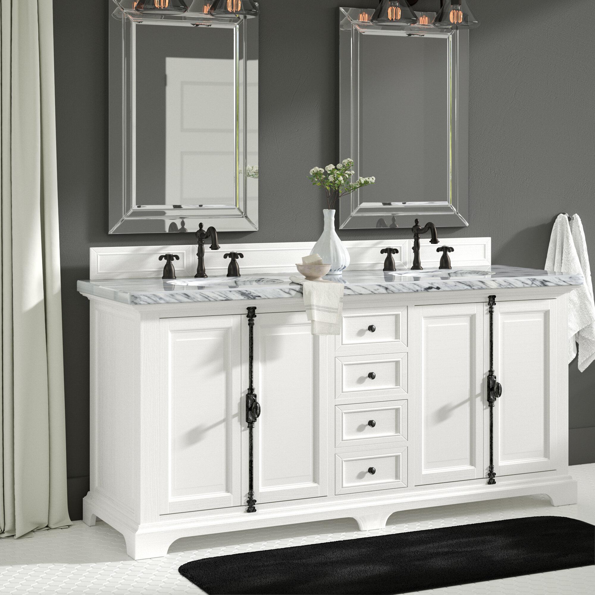greyleigh ogallala 72 double cottage white marble top bathroom rh wayfair com marble top bathroom vanities melbourne black marble top bathroom vanity