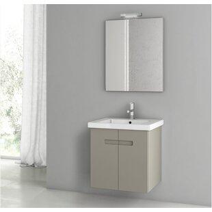 New York 26 Wall-Mounted Single Bathroom Vanity Set with Mirror by ACF Bathroom Vanities
