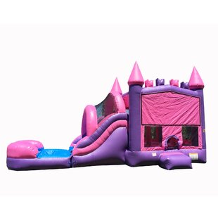 JumpOrange Princess Bricks Mega Inflatable Water Slide Combo Bounce House