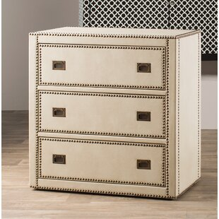 Emmanuel Faux Leather Wrapped Trunk Style 3 Drawer Accent Chest by House of Hampton