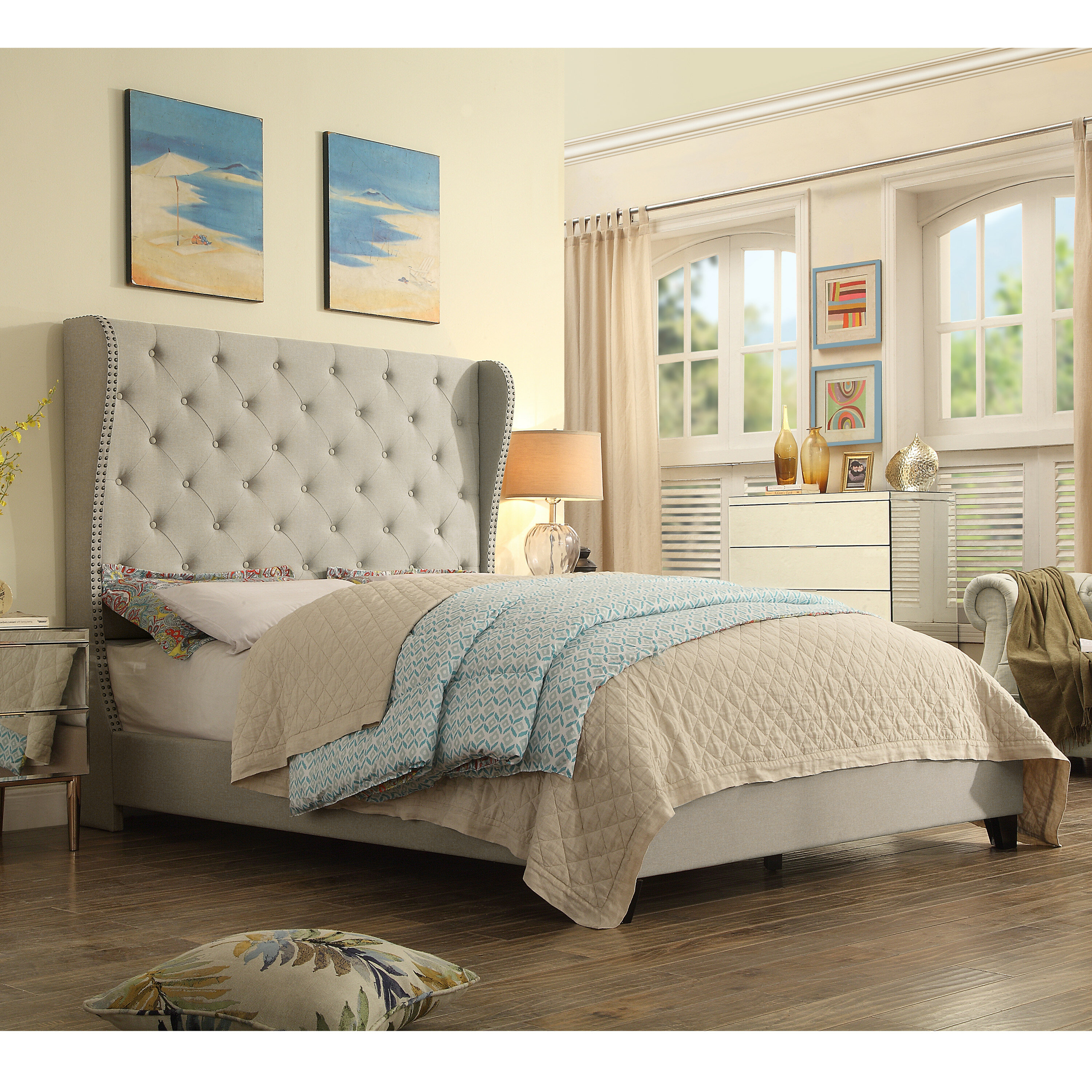 Three Posts Stowthewold Tufted Solid Wood And Upholstered Standard Bed Reviews Wayfair