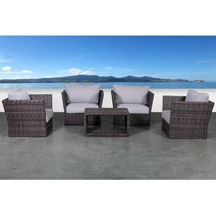 Cochran 5 Piece Rattan Sofa Seating Group with Cushions