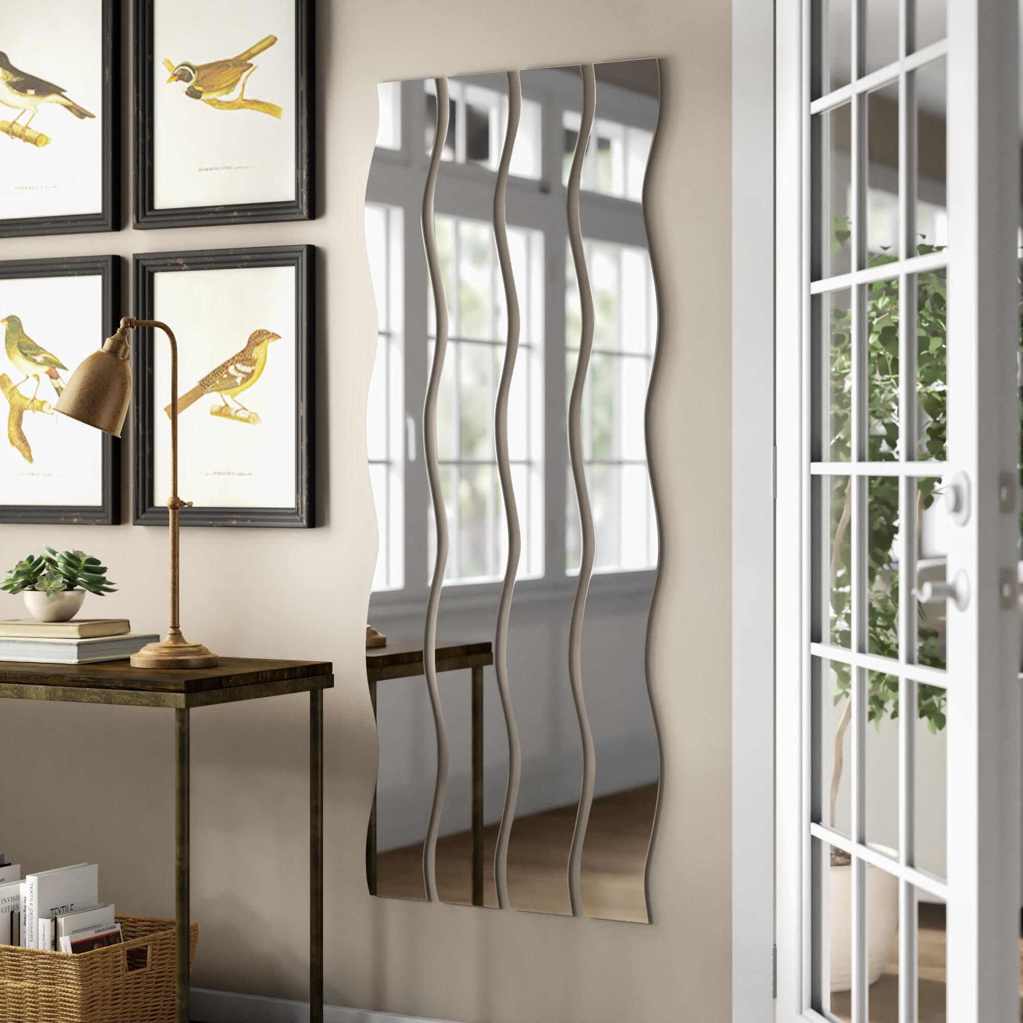 4 Piece Elidge Wave Strip Modern & Contemporary Wall Mirror Set
