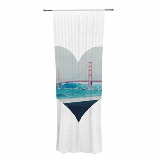 San Francisco Love Graphic Print Text Sheer Rod Pocket Curtain Panels Set Of 2