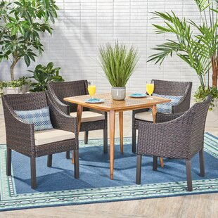 Wrought Studio Elwell 5 Piece Teak Dining Set with Cushions