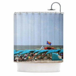 Angie Turner Superman at the Beach Single Shower Curtain