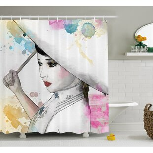 Eastern Woman with Umbrella Decor Single Shower Curtain