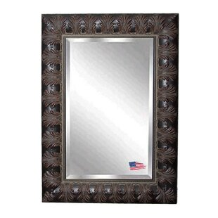 World Menagerie Square Wood Feathered Slim Wall Mirror