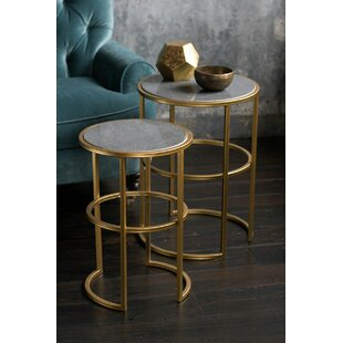 Jaelyn Stone and Metal End Table (Set of 2)