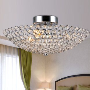 Nichols Crystal 3-Light Semi Flush Mount by Rosdorf Park