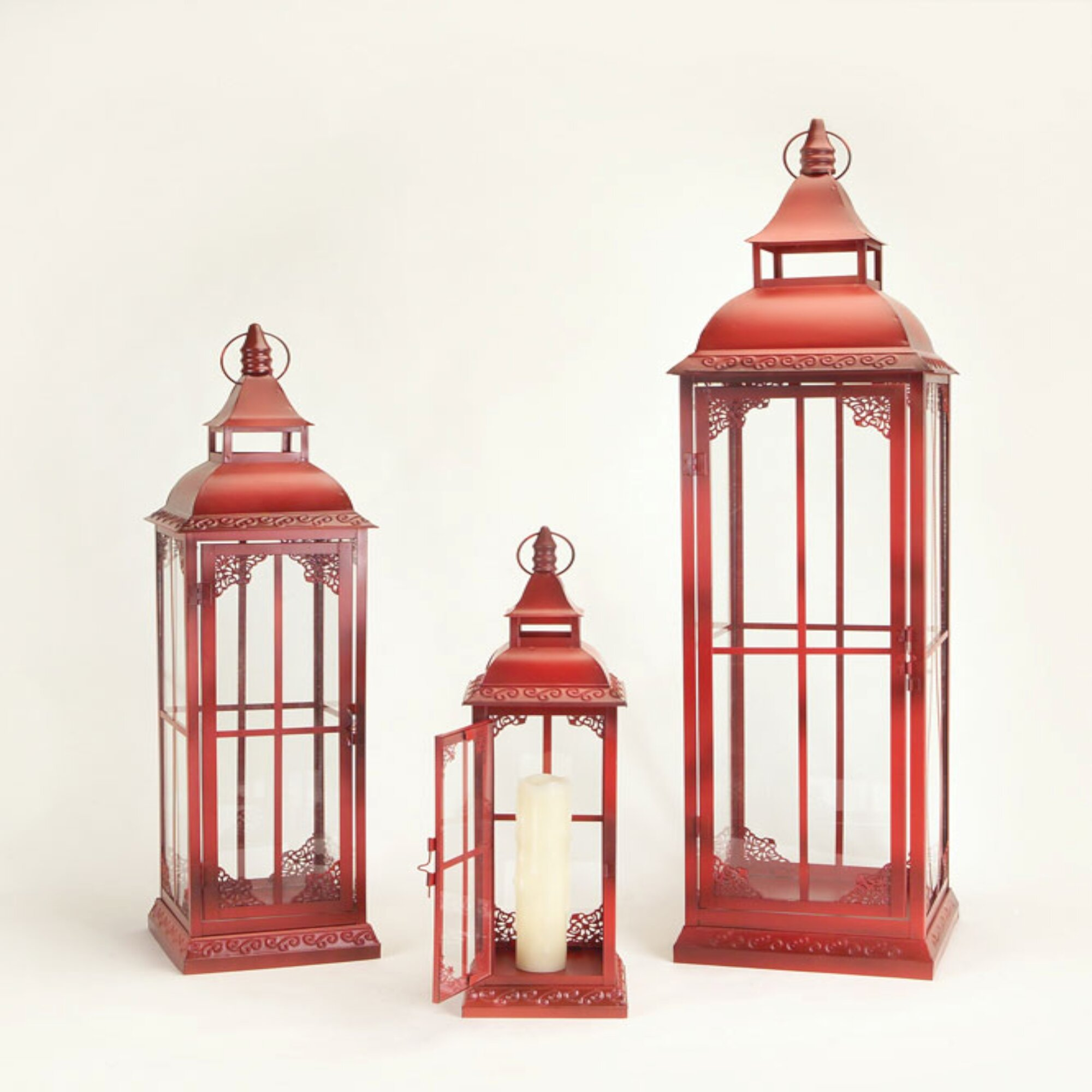 The Holiday Aisle 3 Piece Tall Metal Lantern Set Reviews