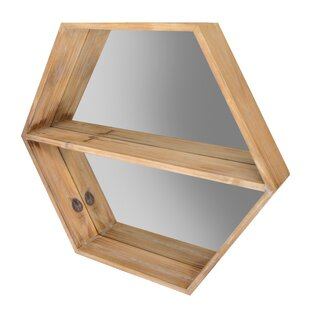 Highland Dunes Blue Point Hexagon Mirror Wall Shelf