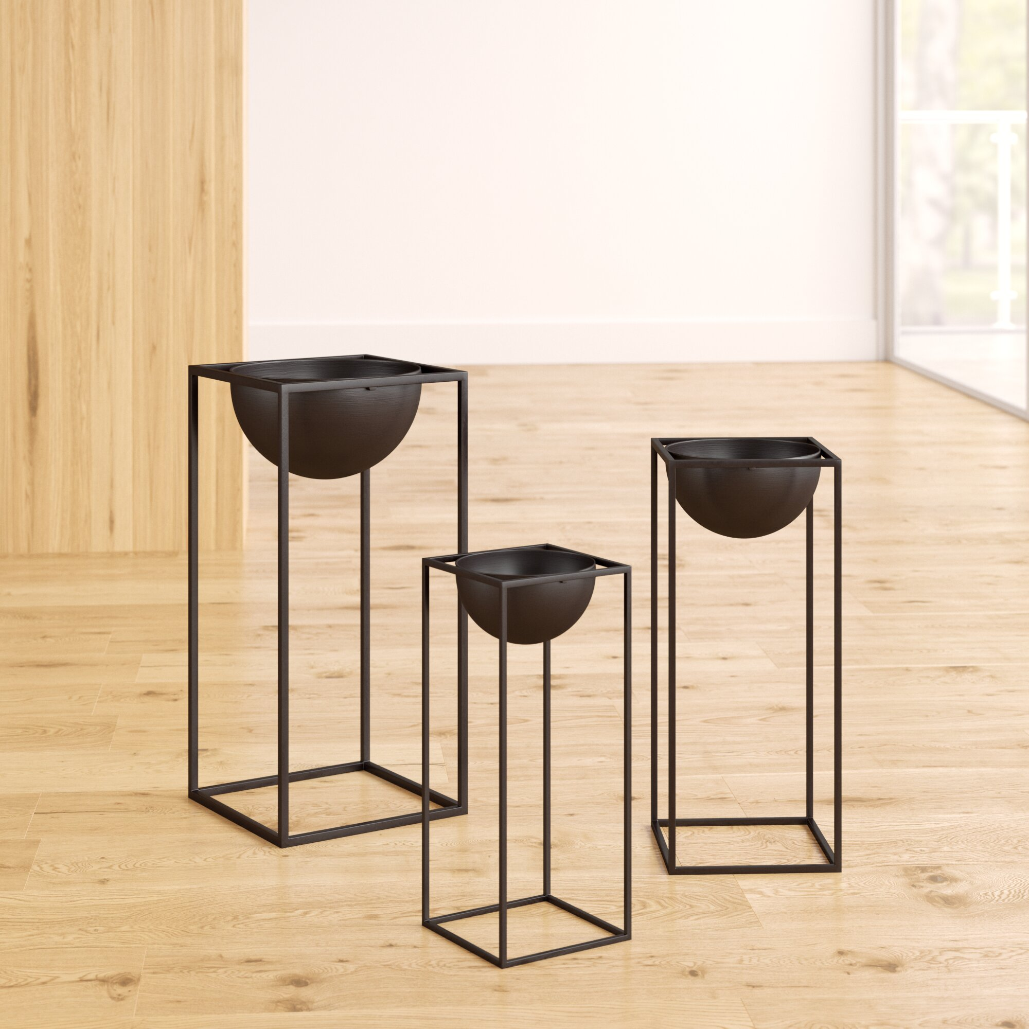 Picture of: Mercury Row Matson 3 Piece Modern Square Nesting Plant Stand Reviews Wayfair