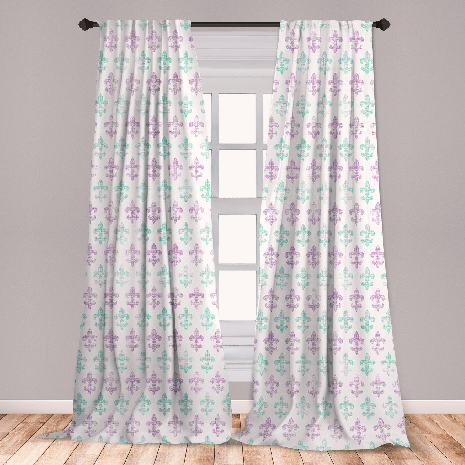 East Urban Home Ander Fleur De Lis 2 Panel Curtain Set Abstract Old Fashioned Lily Flowers With Grunge Look Pastel Colors Lightweight Window Treatment Living Room Bedroom Decor 56 X 95 Mint