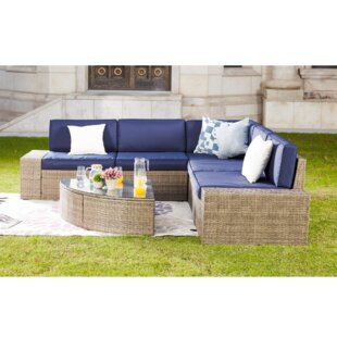 Pierceton 6 Piece Rattan Sectional Set with Cushions