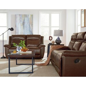 Maricopa Manual Motion Leather Reclining Loveseat by Loon Peak