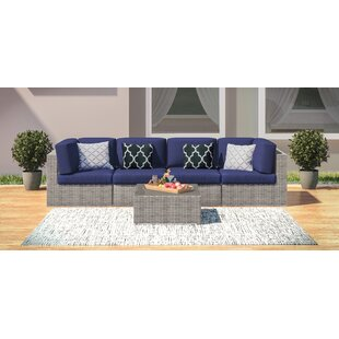 Campa 5 Piece Rattan Sofa Seating Group with Cushions