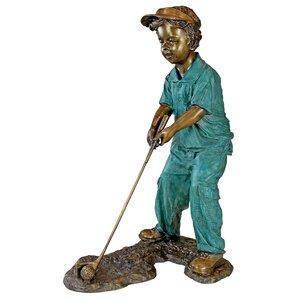 Superior Gabe The Boy Golfer Cast Bronze Garden Statue
