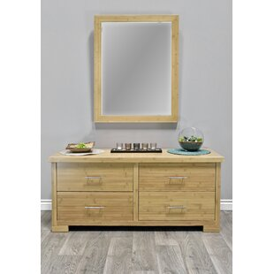 Millwood Pines Acosta 4 Drawer Double Dresser with Mirror