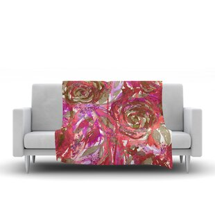 Bargain Ebi Emporium Rose Combustion Coral Maroon Floral Fleece Blanket By East Urban Home
