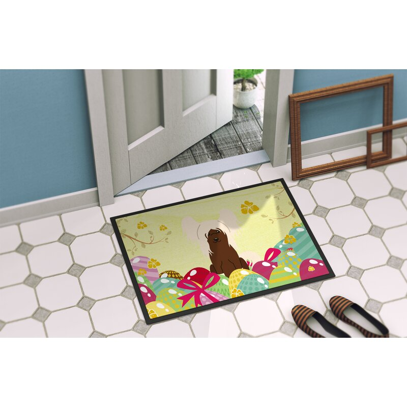 The Holiday Aisle Saroyan Chinese Crested 27 In X 18 In Non Slip Outdoor Door Mat Wayfair