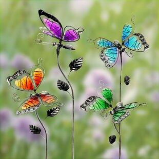 Dirksen Glass Windy Wings Butterfly 4 Piece Garden Stake Set