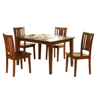 Segundo Rubberwood 5 Piece Solid Wood Dining Set Winston Porter