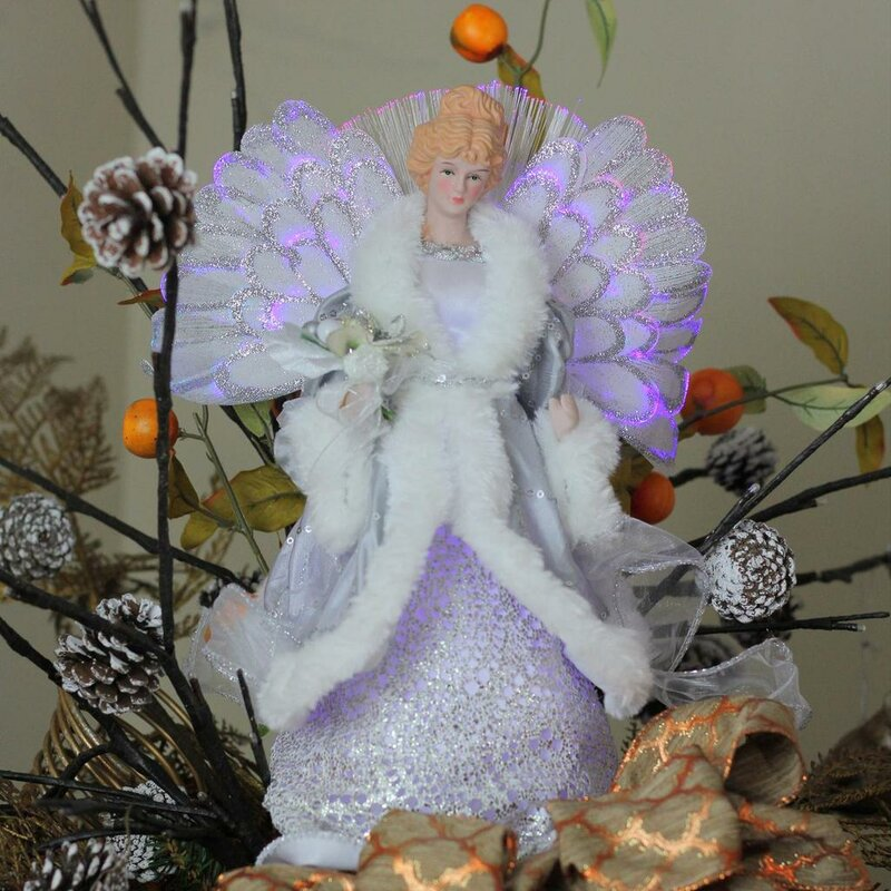 Northlight Lighted B O Fiber Optic Angel In Gown Christmas Hanging Figurine Wayfair
