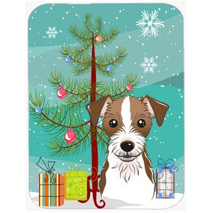 Under the Christmas Tree and Jack Russell Terrier Glass Cutting Board By Caroline's Treasures