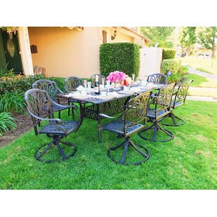 Nina Rectangular 9 Piece Dining Set with Cushions by Fleur De Lis Living