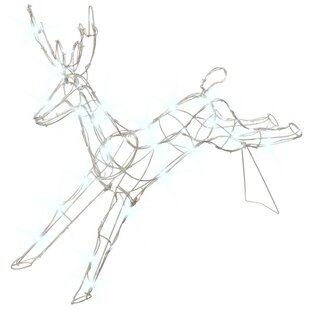 Large Jumping Reindeer 80 LED Light Silhouette Outdoor Garden Christmas Decoration By The Seasonal Aisle