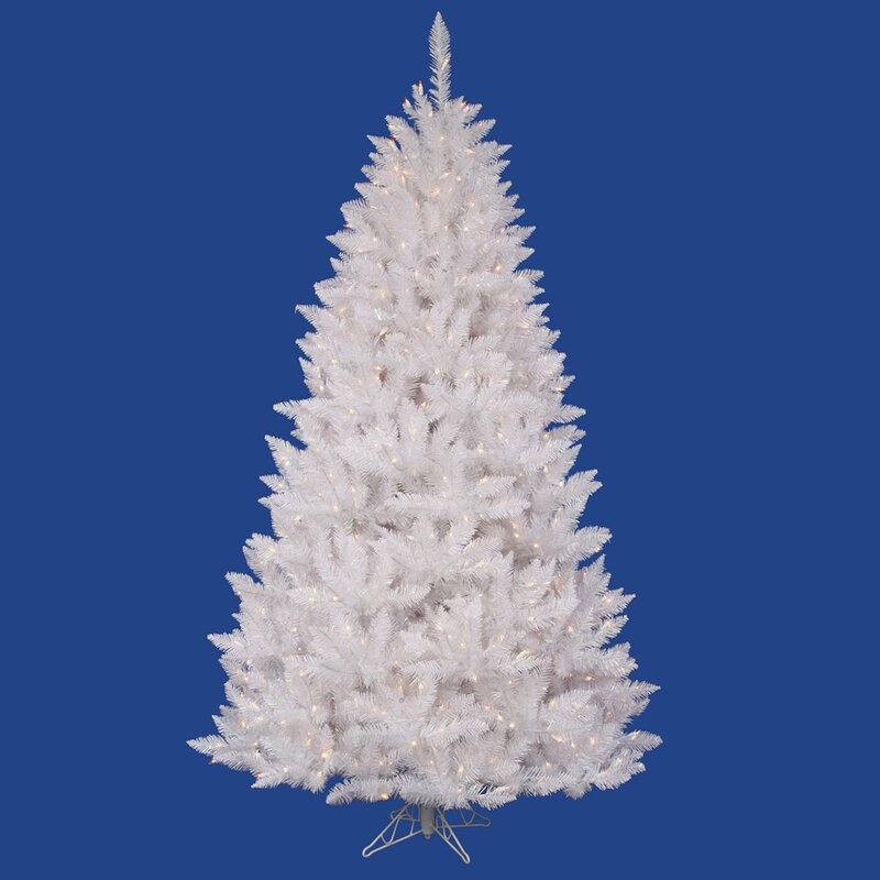 crystal white spruce 3 5 artificial christmas tree with 90 led white lights with stand - Crystal Christmas Trees