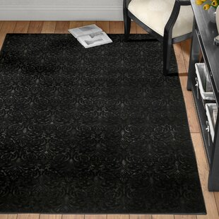 Read Reviews Boone Damask Black Area Rug ByCharlton Home