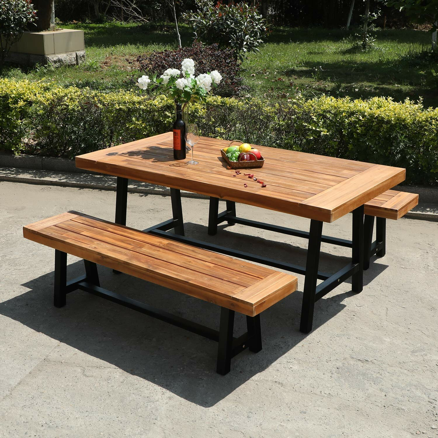 Gracie Oaks Outdoor Patio 3 Pieces Wooden Dining With 1 Table And 2 Benches Oil Finished Acacia Wood Table And Bench Set For Indoor Patio Porch Modern Outdoor Dining Furniture Teak Colour Wayfair Ca