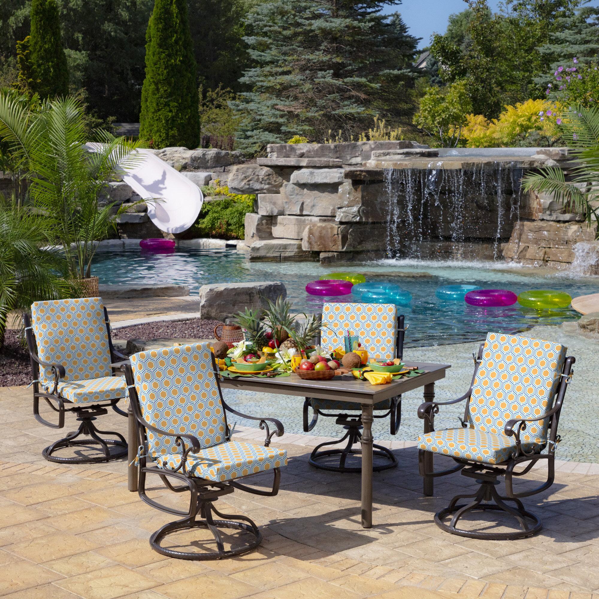 Wrought Studio Honeycomb Outdoor Dining Chair Cushion Wayfair