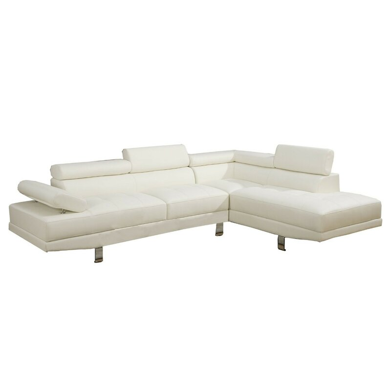Orren Ellis  Dynamite Right Hand Facing Large Sectional Upholstery Color: White
