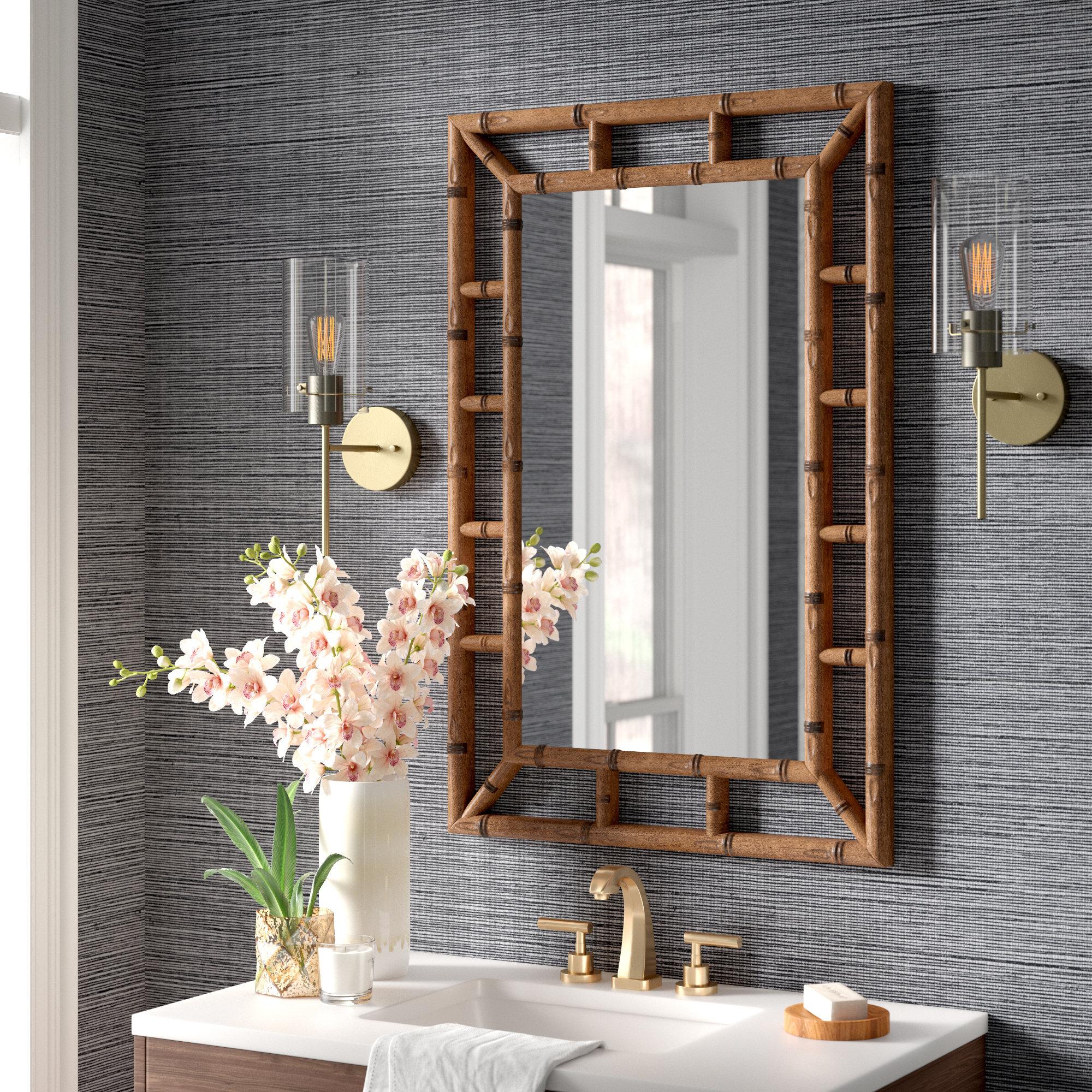 Santiago Bamboo Brown Traditional Beveled Wall Mirror Reviews Joss Main
