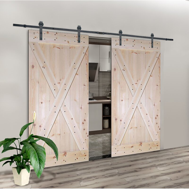 Astonishing Paneled Wood Unfinished Room Divider Barn Door With Installation Hardware Kit Download Free Architecture Designs Estepponolmadebymaigaardcom